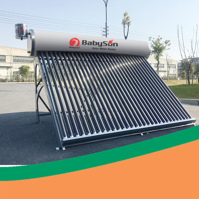 Open loop unpressurized evacuated tube commercial solar water heater